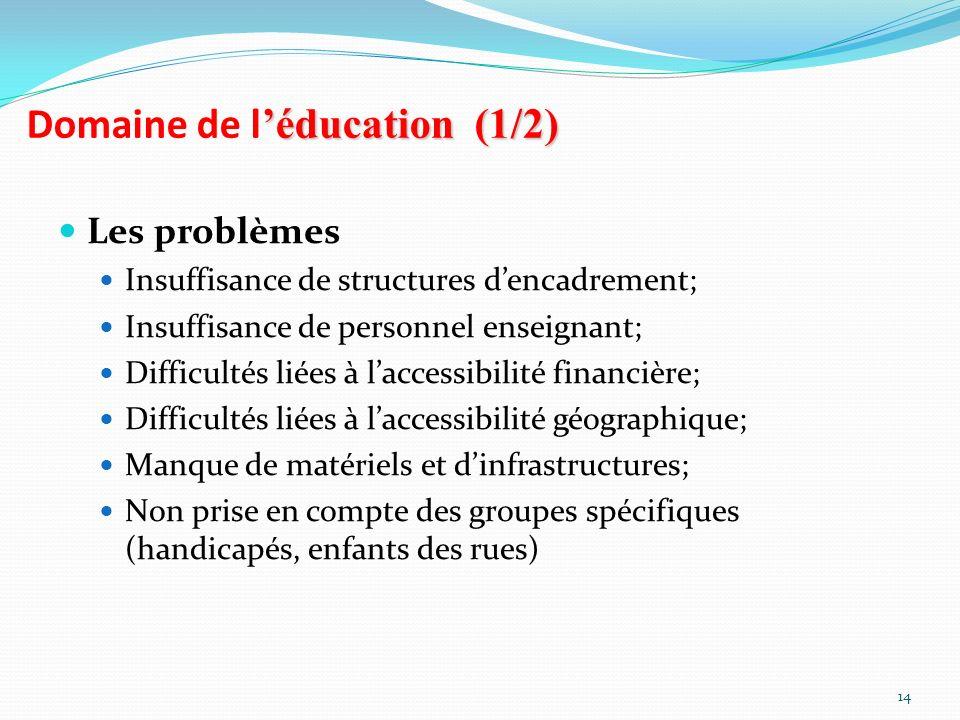 Domaine de l'éducation (1/2)