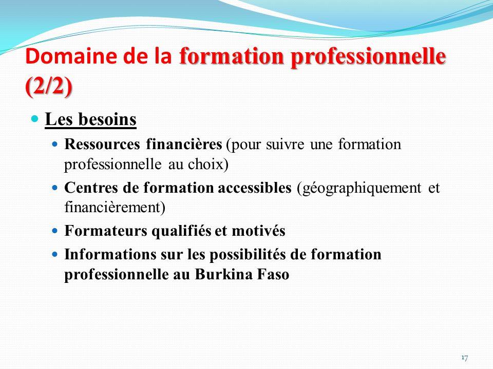 Domaine de la formation professionnelle (2/2)