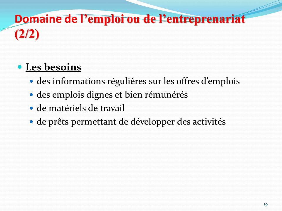 Domaine de l'emploi ou de l'entreprenariat (2/2)