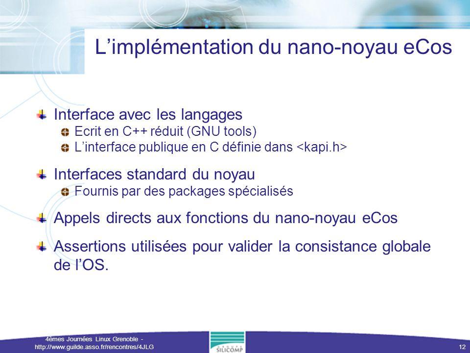 L'implémentation du nano-noyau eCos