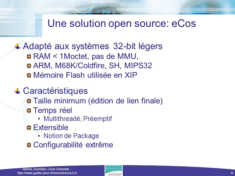 Une solution open source: eCos