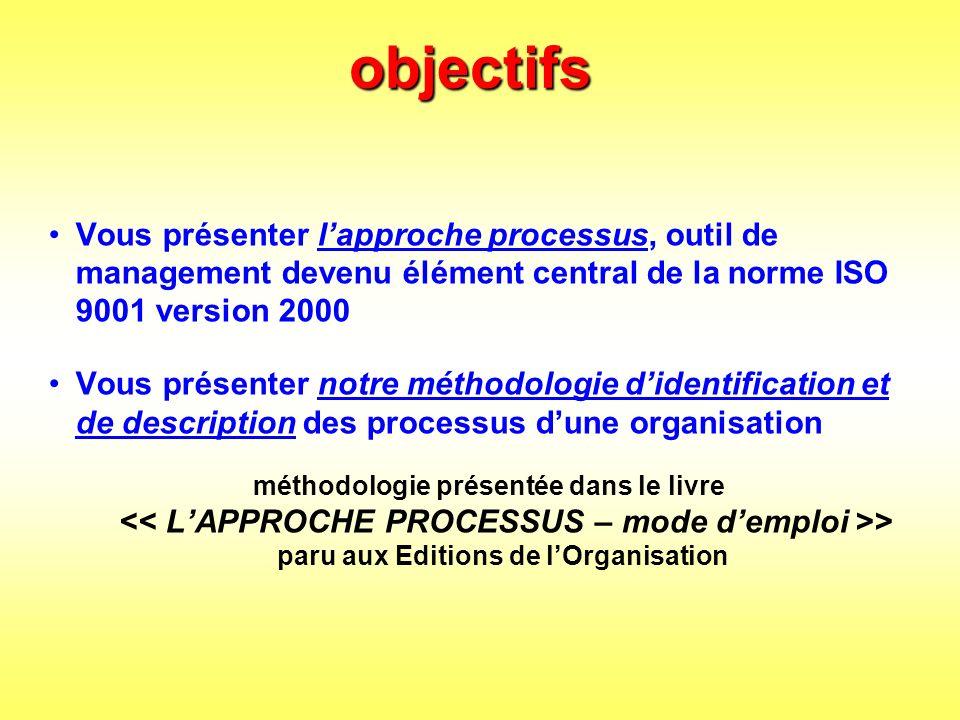 objectifs Vous présenter l'approche processus, outil de management devenu élément central de la norme ISO 9001 version 2000.