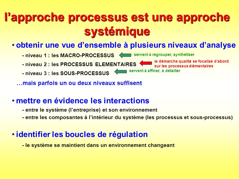 l'approche processus est une approche systémique