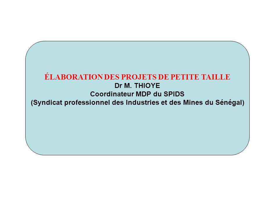 ÉLABORATION DES PROJETS DE PETITE TAILLE