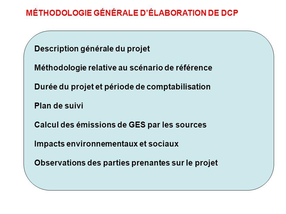 MÉTHODOLOGIE GÉNÉRALE D'ÉLABORATION DE DCP