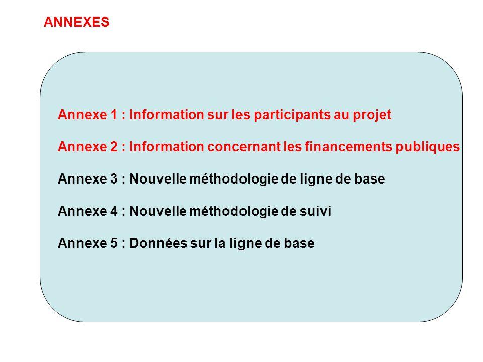 ANNEXES Annexe 1 : Information sur les participants au projet. Annexe 2 : Information concernant les financements publiques.