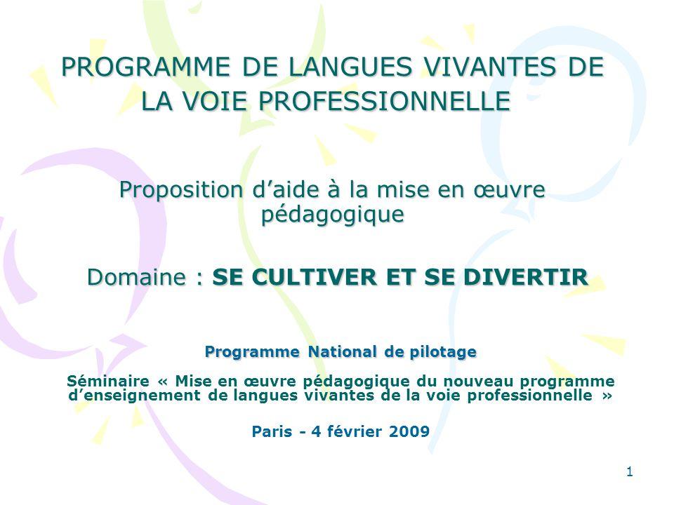 Programme National de pilotage
