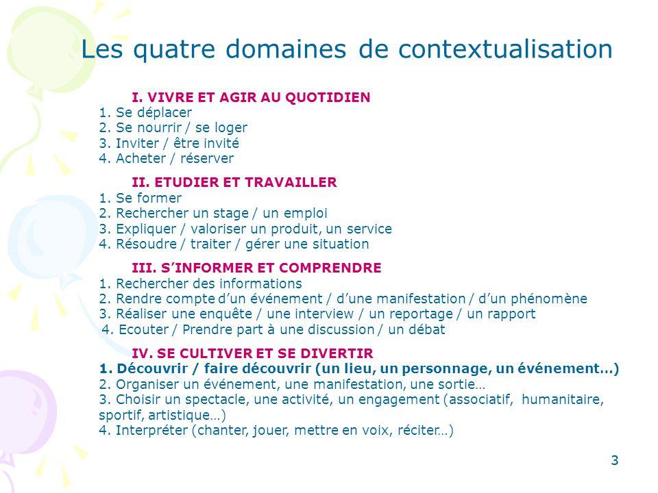 Les quatre domaines de contextualisation