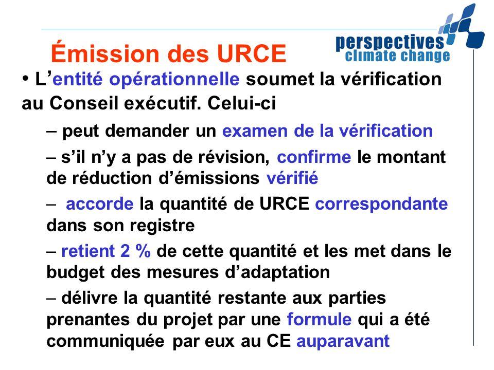 Émission des URCE L'entité opérationnelle soumet la vérification au Conseil exécutif. Celui-ci. peut demander un examen de la vérification.