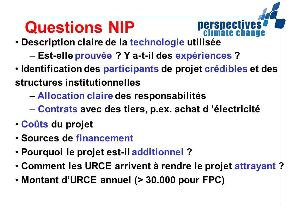 Questions NIP Description claire de la technologie utilisée