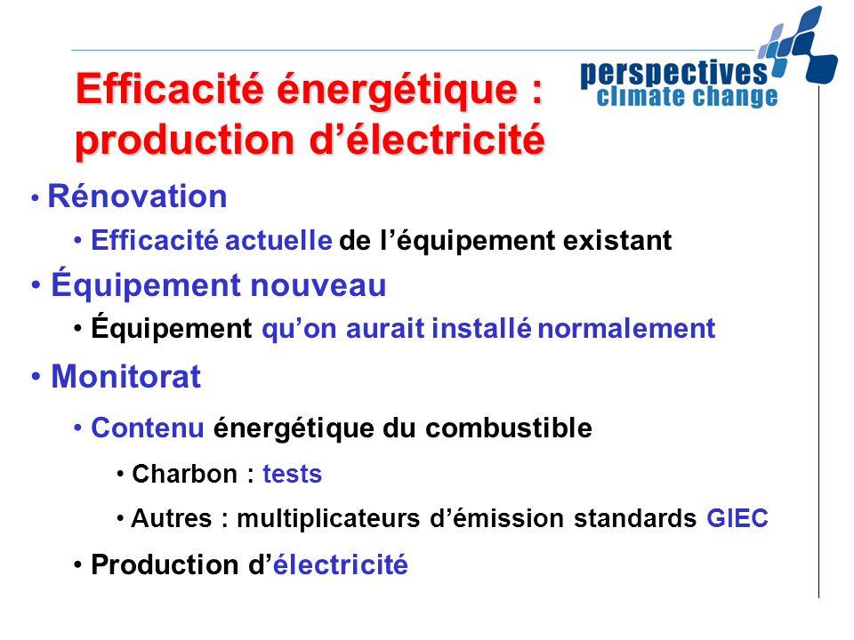 Efficacité énergétique : production d'électricité
