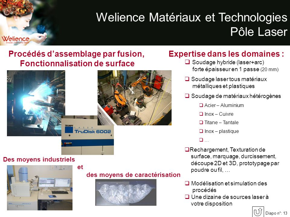 Welience Matériaux et Technologies Pôle Laser