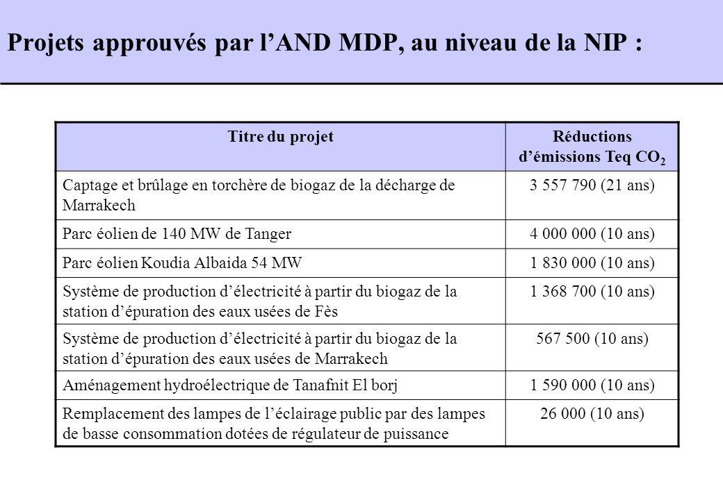 Projets approuvés par l'AND MDP, au niveau de la NIP :