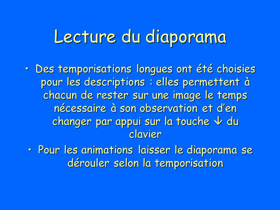 Lecture du diaporama