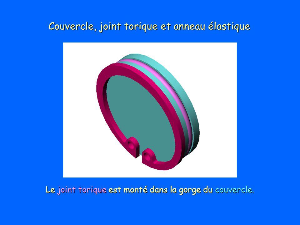 Couvercle, joint torique et anneau élastique