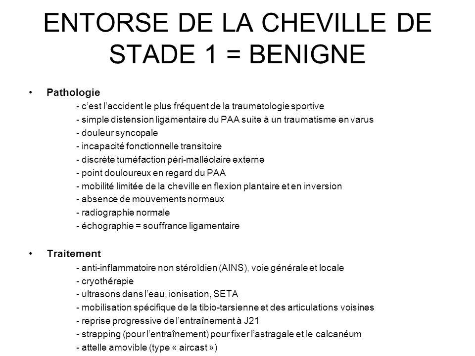 ENTORSE DE LA CHEVILLE DE STADE 1 = BENIGNE