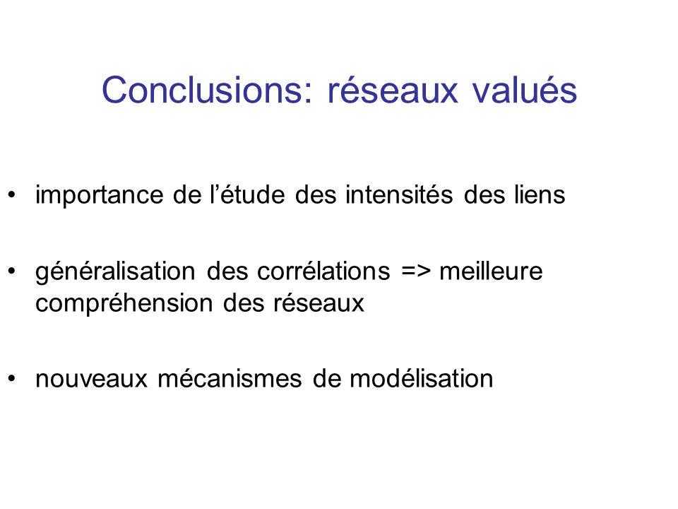 Conclusions: réseaux valués