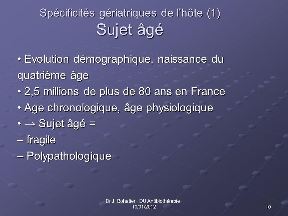 Spécificités gériatriques de l'hôte (1) Sujet âgé