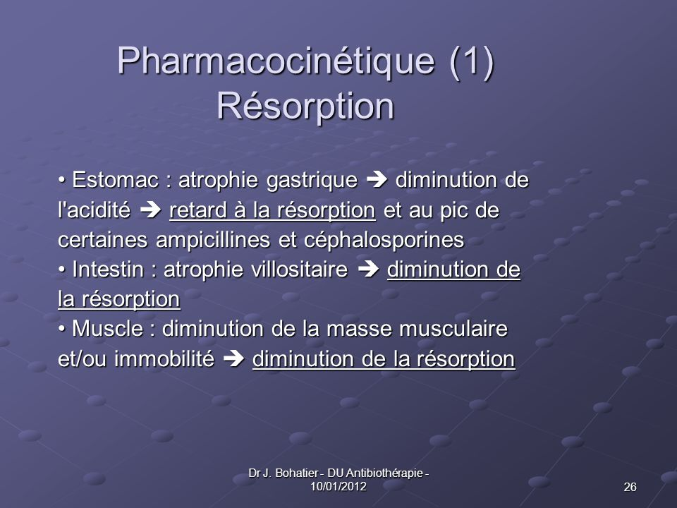 Pharmacocinétique (1) Résorption