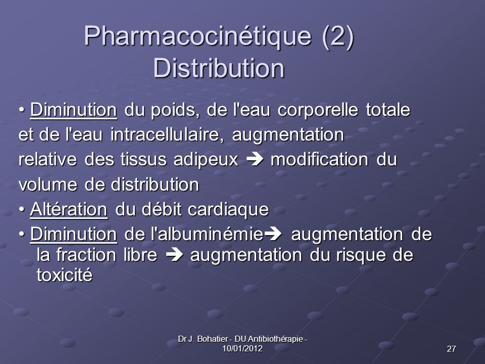 Pharmacocinétique (2) Distribution