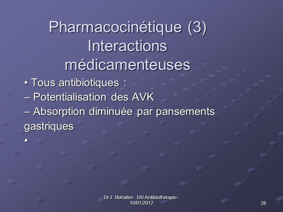 Pharmacocinétique (3) Interactions médicamenteuses