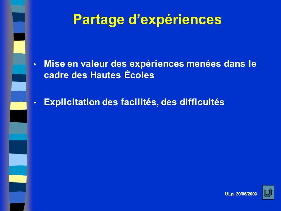 Partage d'expériences