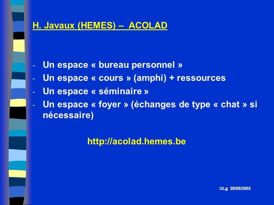H. Javaux (HEMES) – ACOLAD