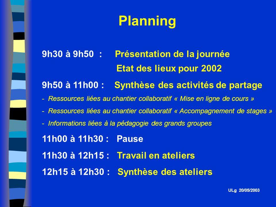 Planning 9h30 à 9h50 : Présentation de la journée