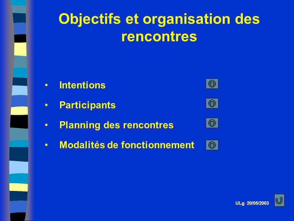 Objectifs et organisation des rencontres