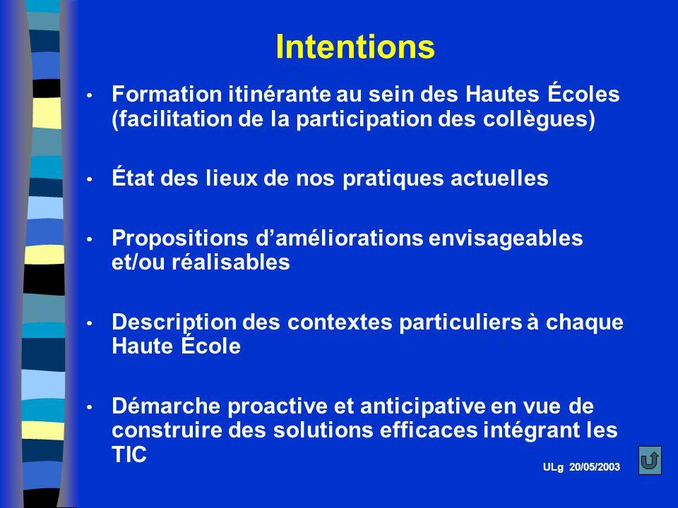 Intentions Formation itinérante au sein des Hautes Écoles (facilitation de la participation des collègues)