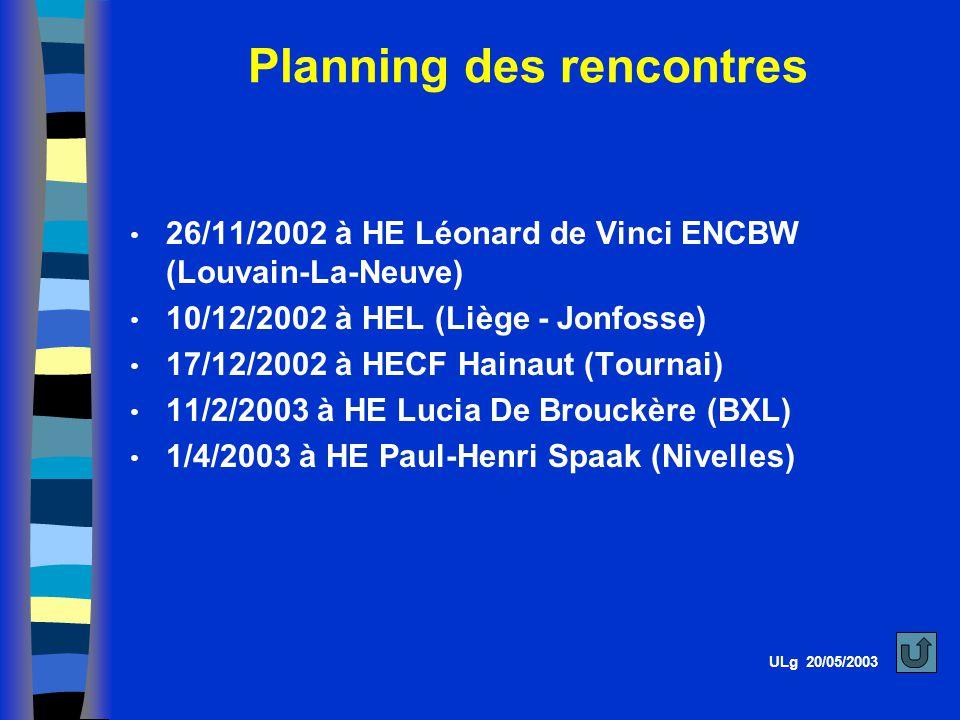 Planning des rencontres
