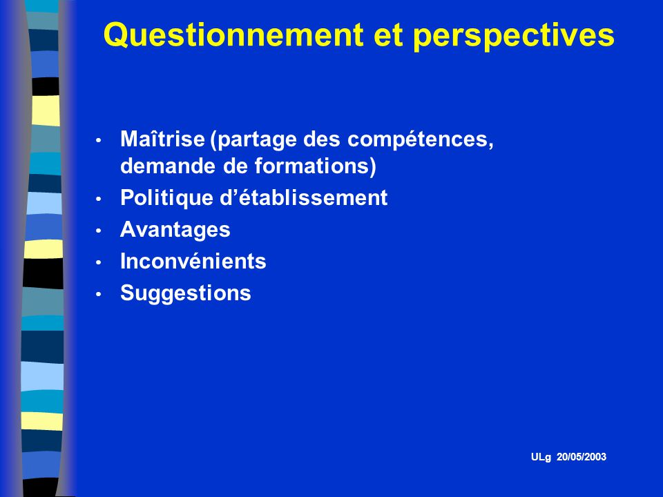 Questionnement et perspectives