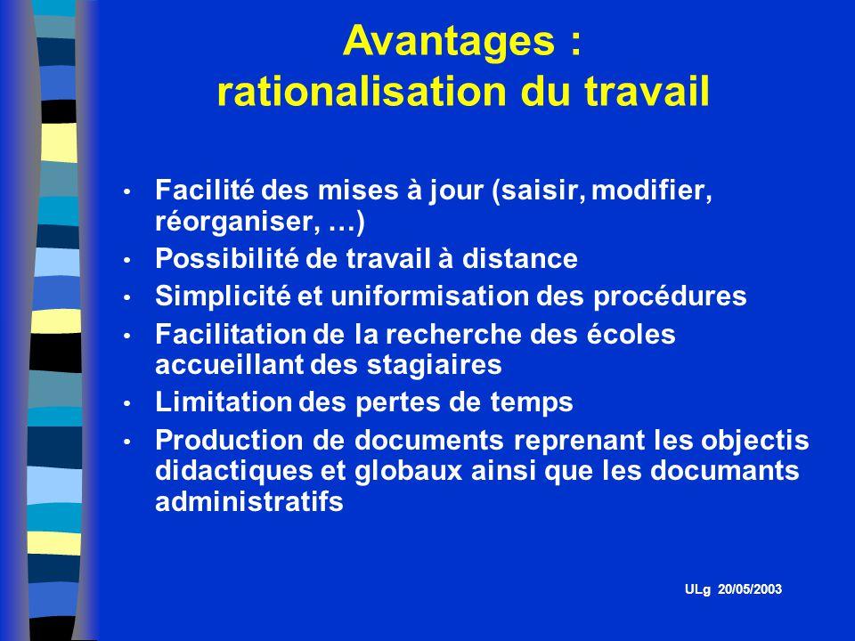 Avantages : rationalisation du travail
