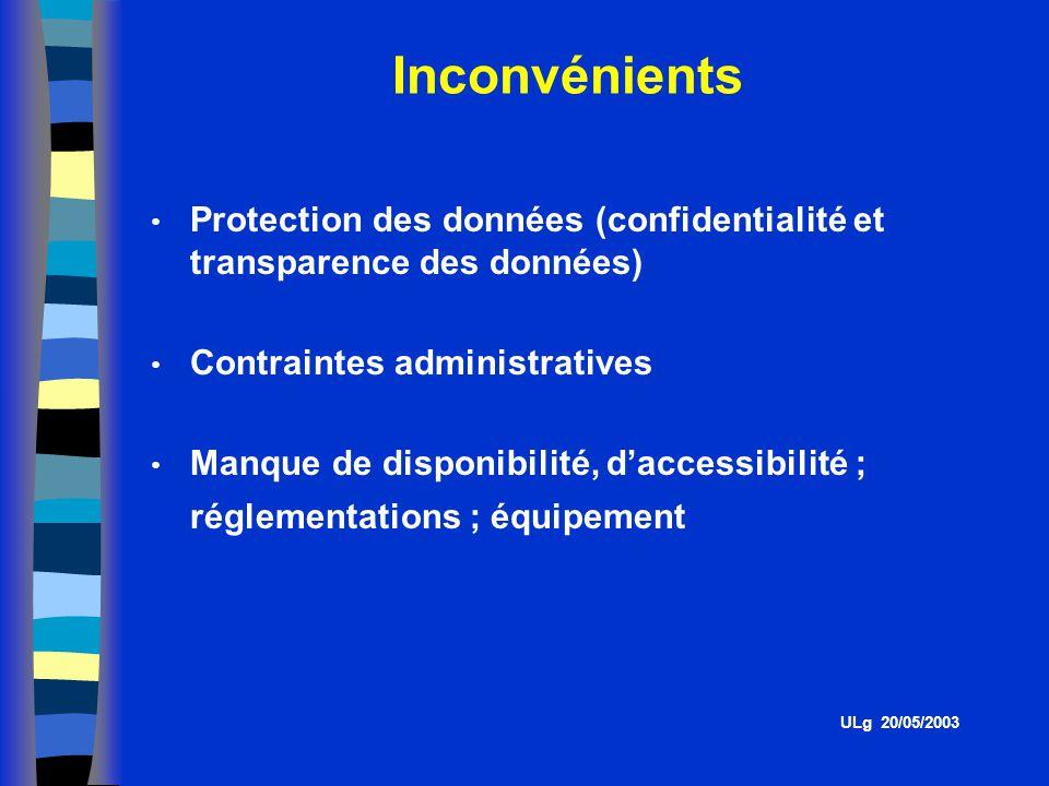 Inconvénients Protection des données (confidentialité et transparence des données) Contraintes administratives.