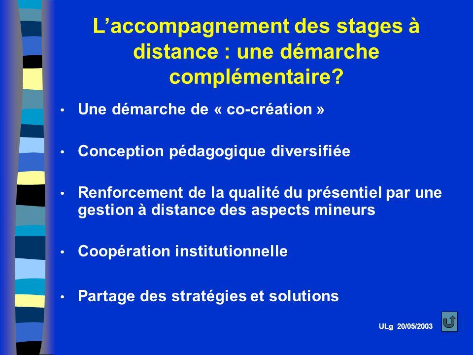 L'accompagnement des stages à distance : une démarche complémentaire