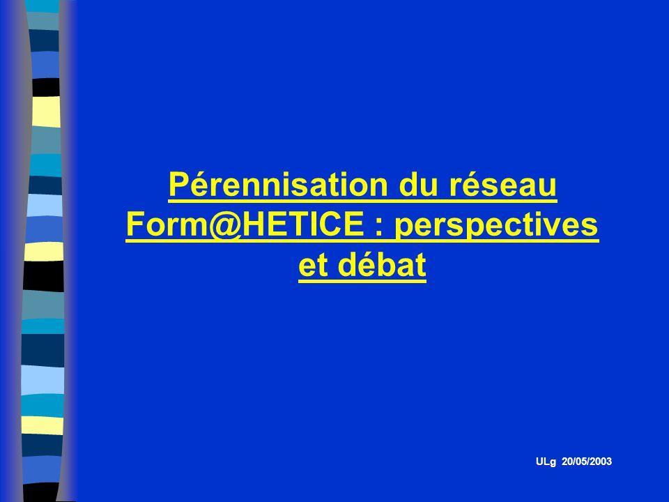 Pérennisation du réseau Form@HETICE : perspectives et débat