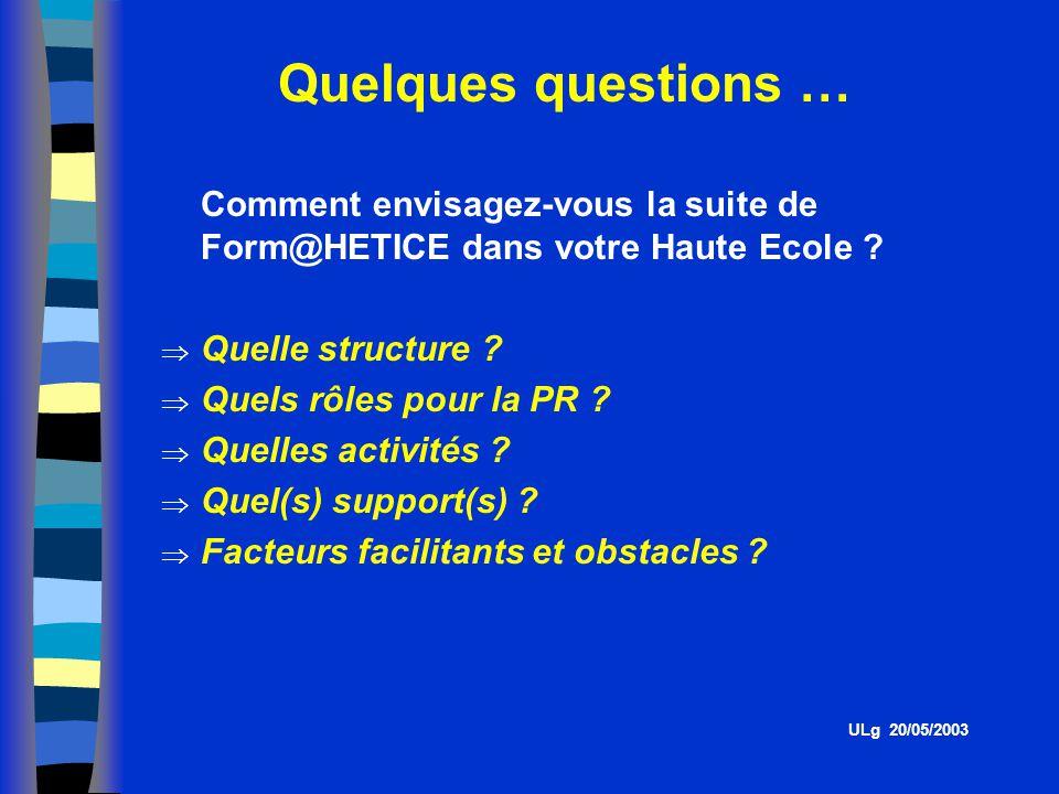 Quelques questions … Comment envisagez-vous la suite de Form@HETICE dans votre Haute Ecole Quelle structure