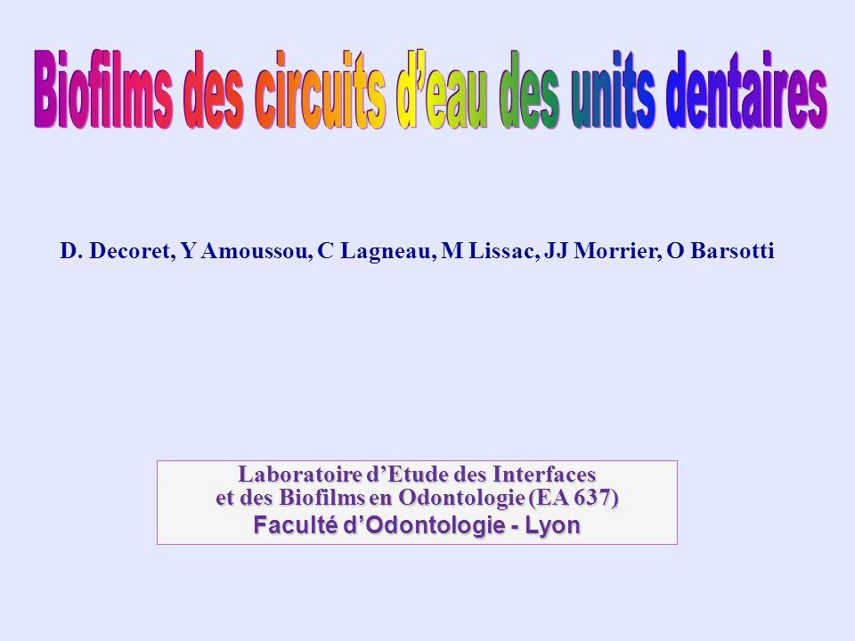 Biofilms des circuits d'eau des units dentaires