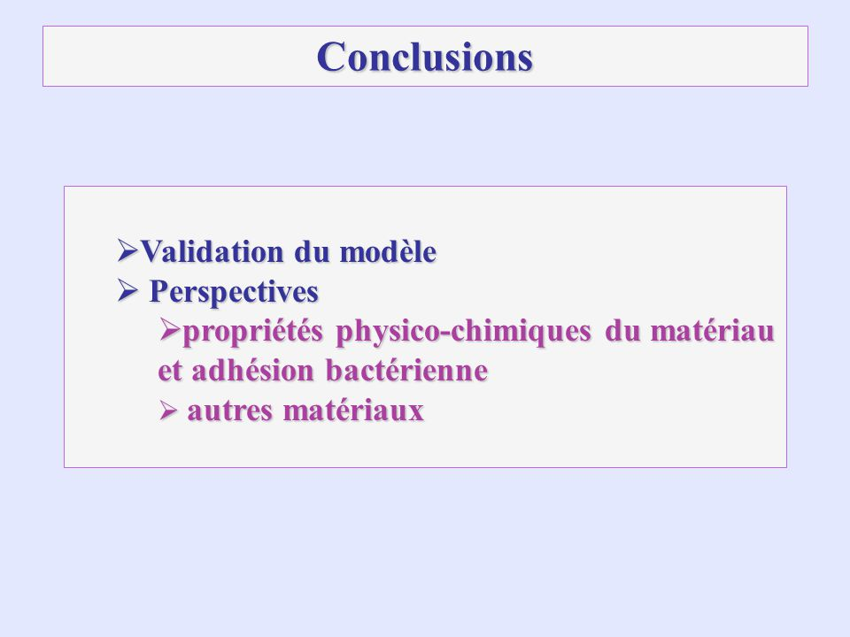 Conclusions Validation du modèle Perspectives