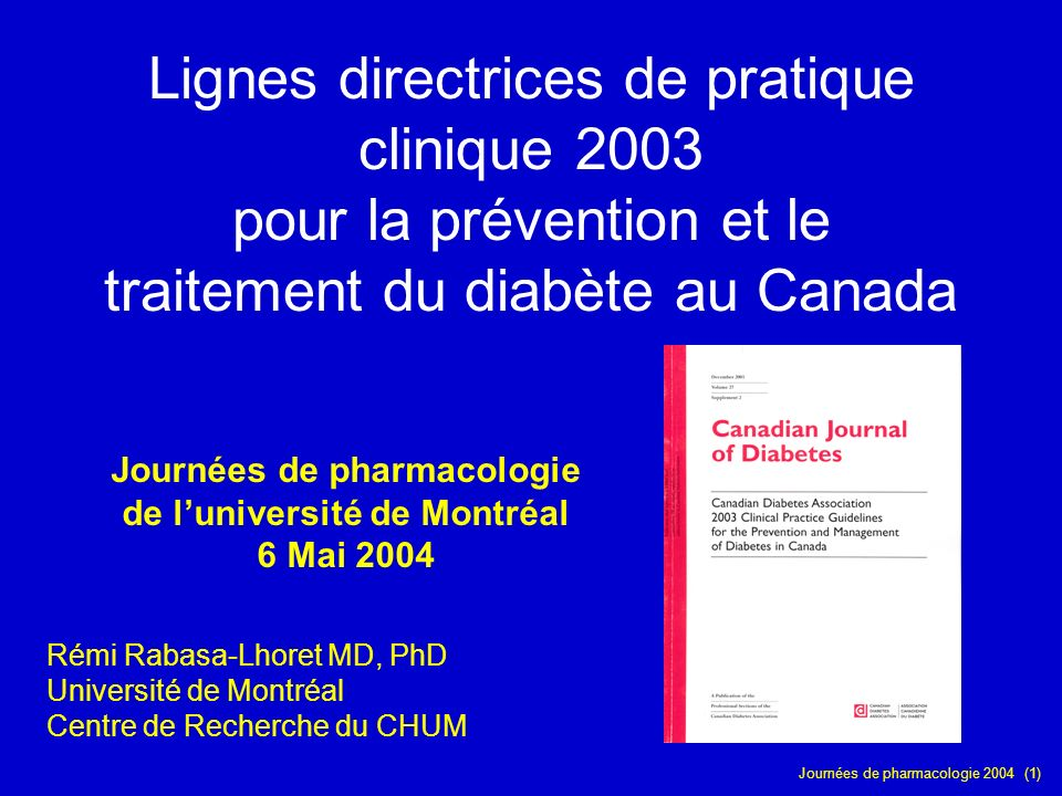 Journées de pharmacologie de l'université de Montréal