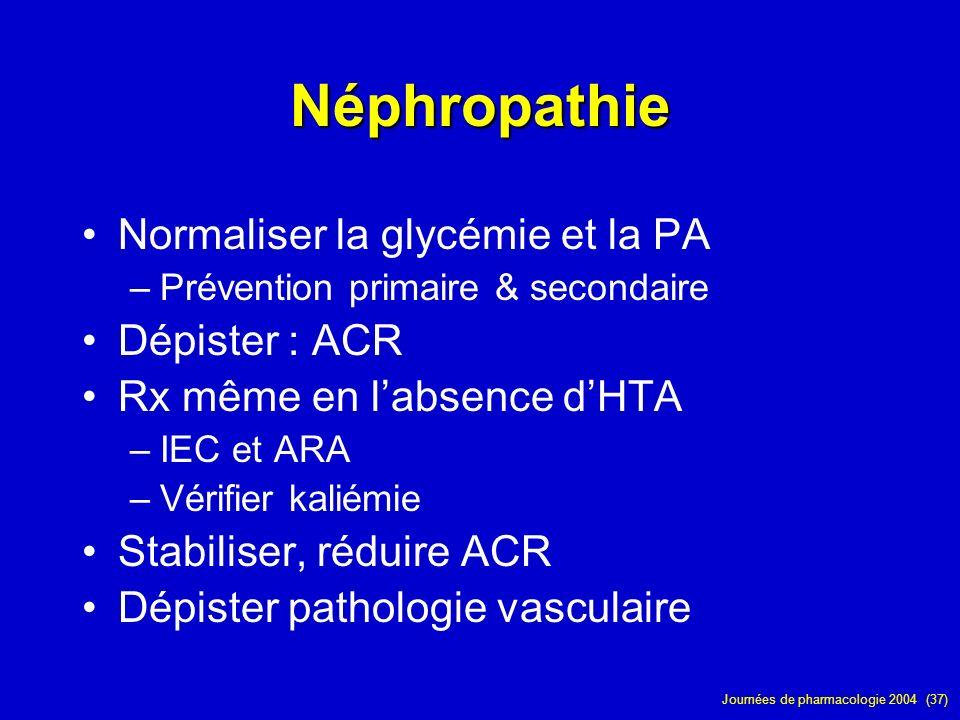 Néphropathie Normaliser la glycémie et la PA Dépister : ACR
