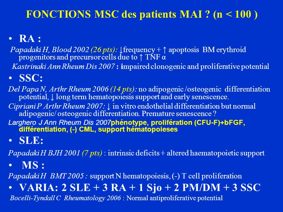FONCTIONS MSC des patients MAI (n < 100 )