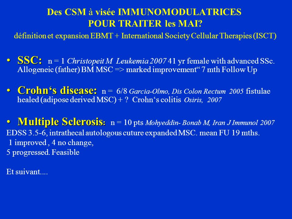 Multiple Sclerosis: n = 10 pts Mohyeddin- Bonab M, Iran J Immunol 2007