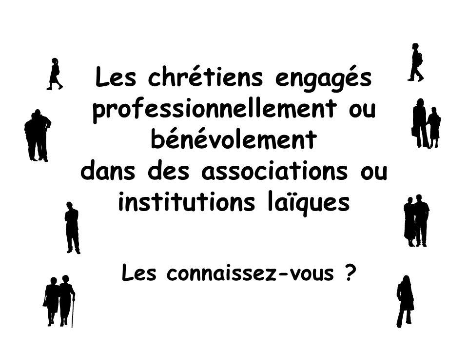 Les chrétiens engagés professionnellement ou bénévolement dans des associations ou institutions laïques