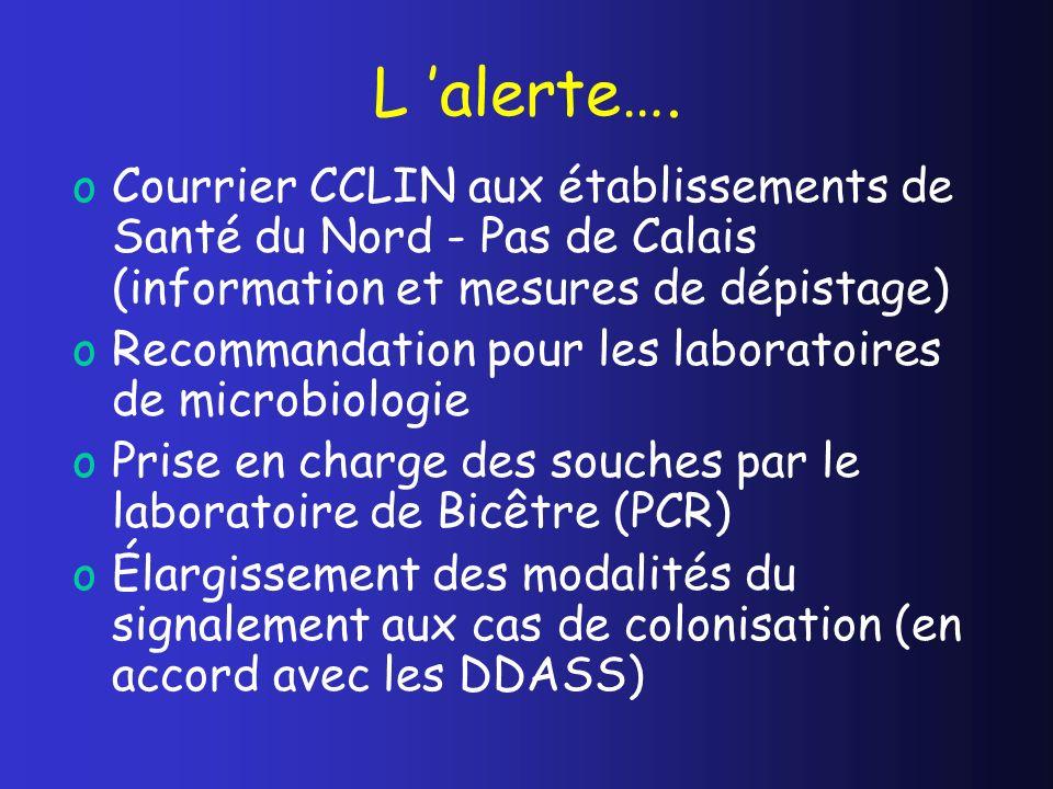L 'alerte…. Courrier CCLIN aux établissements de Santé du Nord - Pas de Calais (information et mesures de dépistage)
