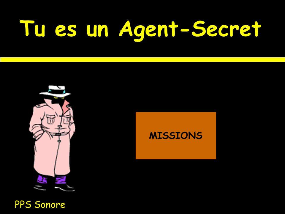 Tu es un Agent-Secret MISSIONS PPS Sonore