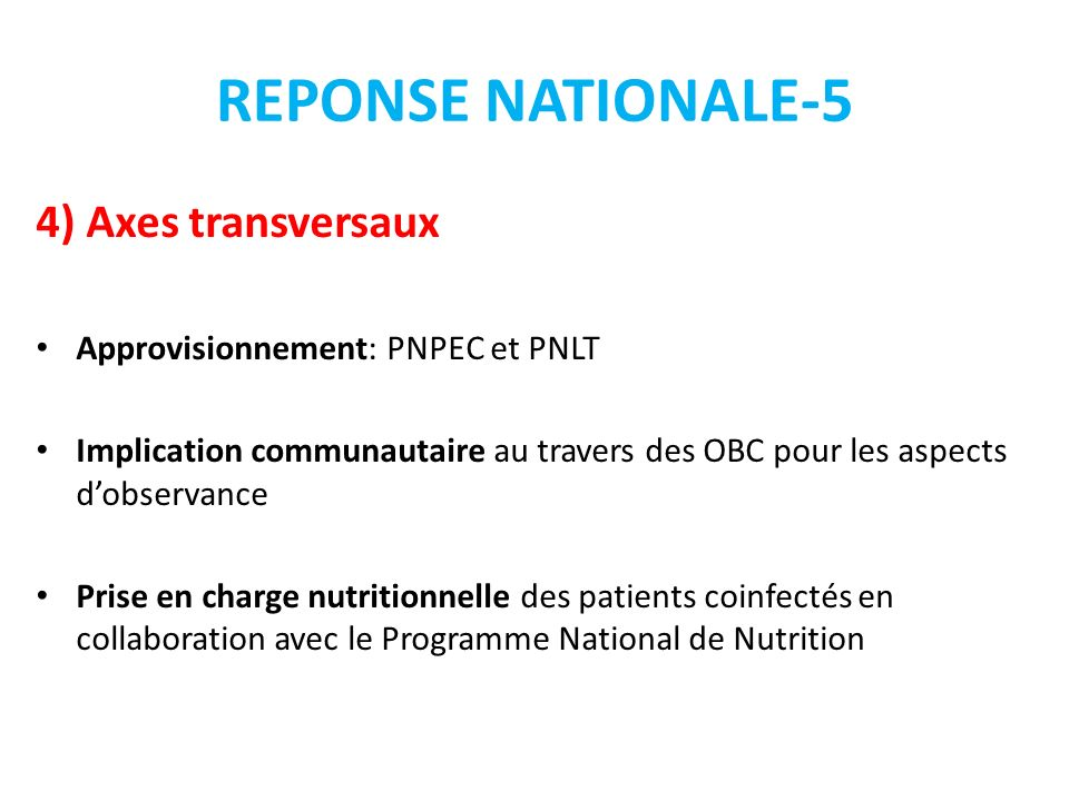 REPONSE NATIONALE-5 4) Axes transversaux