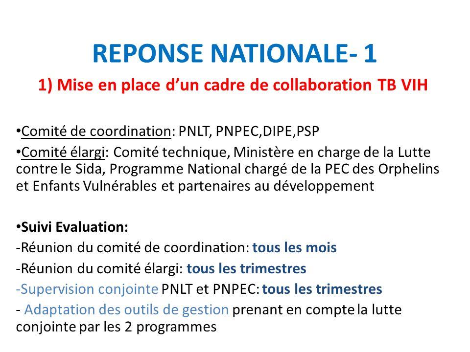 1) Mise en place d'un cadre de collaboration TB VIH
