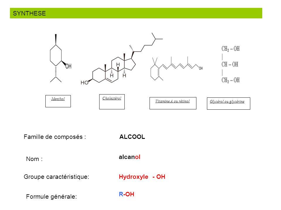 Famille de composés : ALCOOL