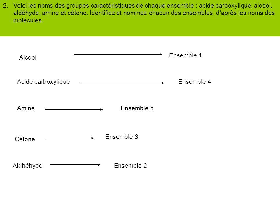 2. Voici les noms des groupes caractéristiques de chaque ensemble : acide carboxylique, alcool, aldéhyde, amine et cétone. Identifiez et nommez chacun des ensembles, d'après les noms des molécules.